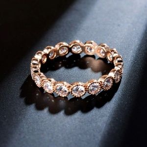 Rose Gold Plated Cubic Zirconia Ring Pave Round